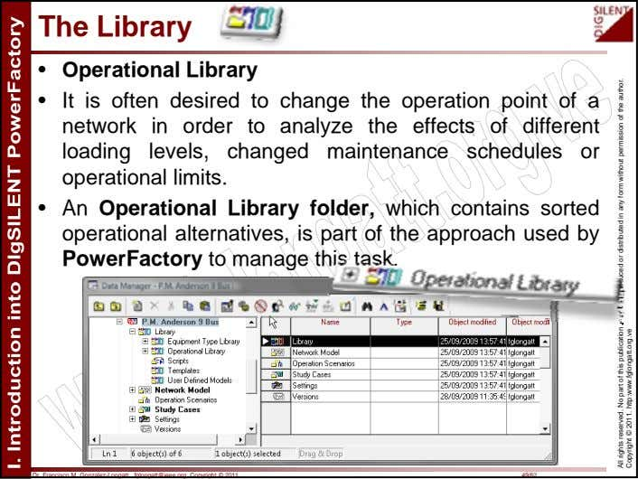 The Library • Operational Library • It is often desired to change the operation point