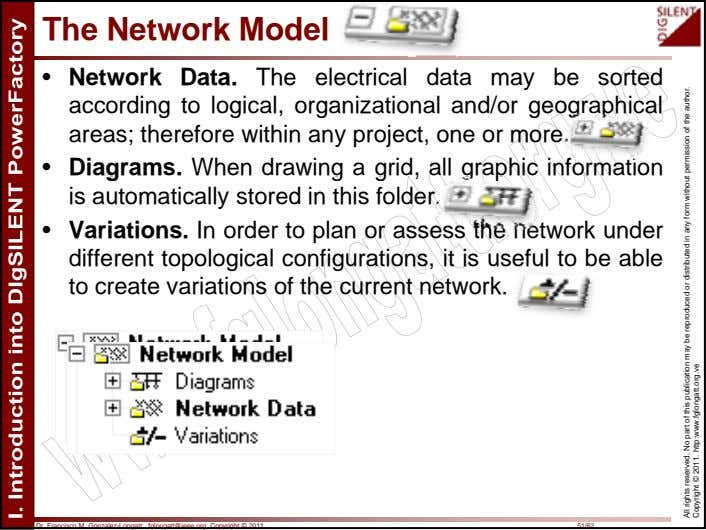 The Network Model • Network Data. The electrical data may be sorted according to logical,