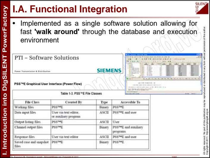 I.A. Functional Integration • Implemented as a single software solution allowing for fast 'walk around'