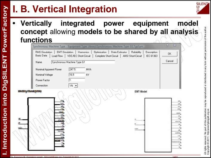 I. B. Vertical Integration • Vertically integrated power equipment model concept allowing models to be