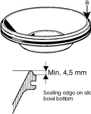 a lathe. Minimum permissible height of sealing edge: 4,5 mm. Sealing edge on sliding bowl bottom