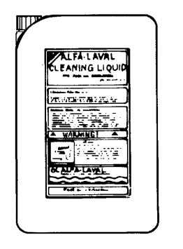 as the liquid is alkaline and dangerous to skin and eyes. Alfa Laval cleaning liquid for