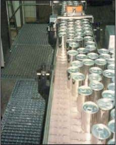 Side flexing Beer bottles 3 track Lubricant: Soapy water uni 820 K325 Straight running Can accumulation