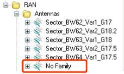 "the Antennas folder in the Configuration tab tree, Fig. 4-6. Fig. 4-6 A ""No Family"" subfolder"