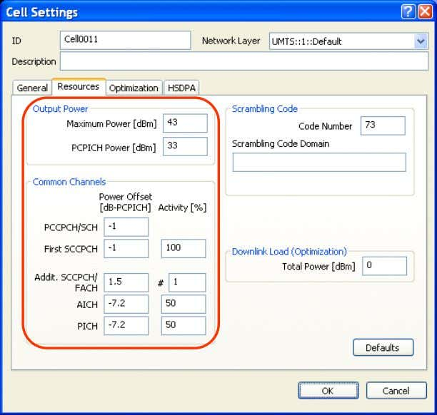 calculations – as described in section 6.2.8. Fig. 4-16 Resources tab of the Cell Settings dialog