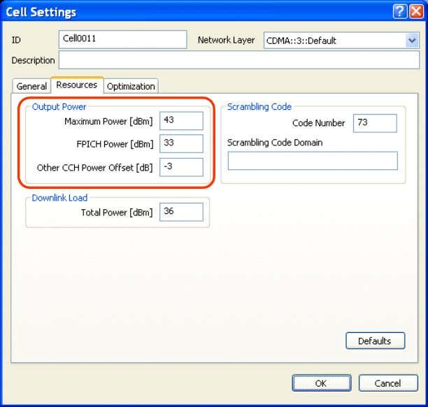 3.13 User Guide Optimization Project Configuration 42 Fig. 4-17 Resources tab of the Cell Settings dialog