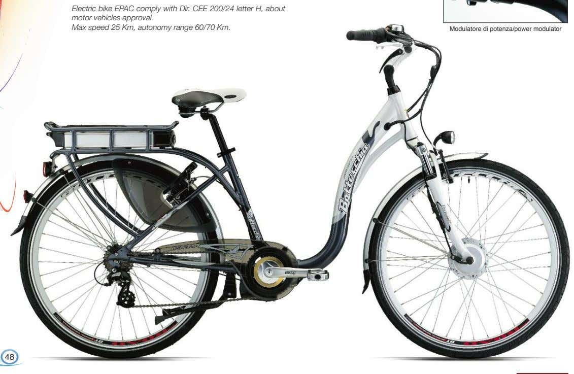 Electric bike EPAC comply with Dir. CEE 200/24 letter H, about motor vehicles approval. Max