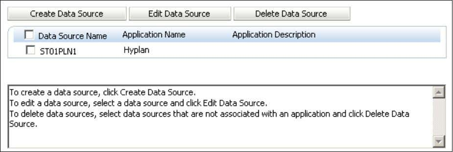 4. Click Create Data Source. 5 . Perform the following actions for the application database: Select