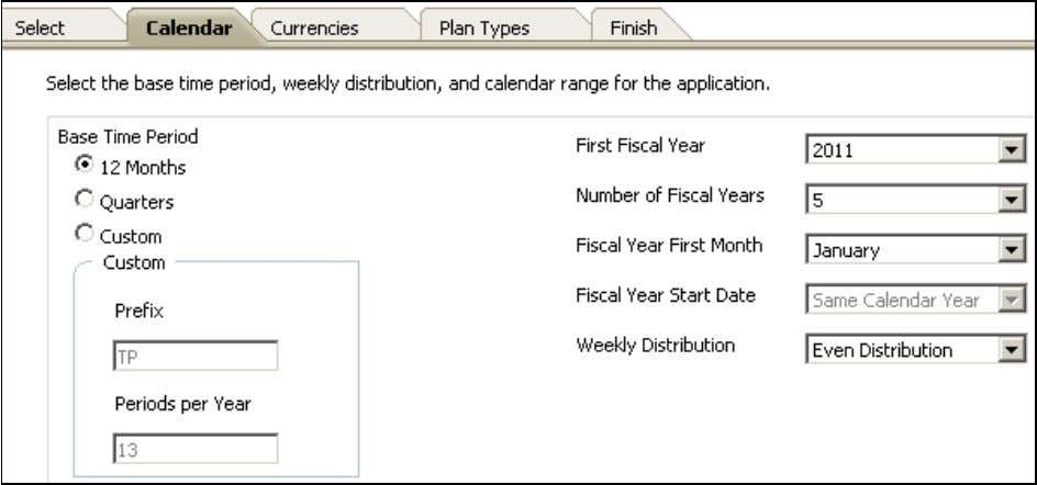 fiscal start month, weekly distribution, and total years. 5 . Select the C u r r