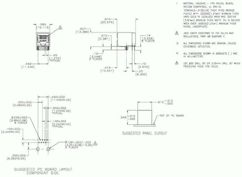 Figure A-1. Mechanical Drawing for AMP/Tyco 5557785-1(CAT5) Figure A-2. Emulation Circuitry Schematic 18 In Circuit