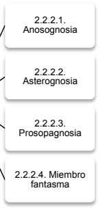 2.2.2.1. Anosognosia 2.2.2.2. Asterognosia 2.2.2.3. Prosopagnosia 2.2.2.4. Miembro fantasma