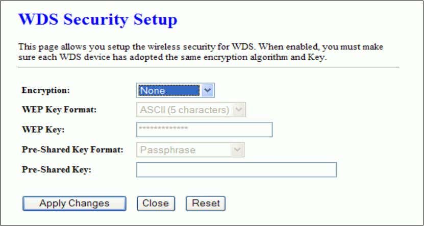 This page is used to configure the wireless security between APs. WDS AP Table This page