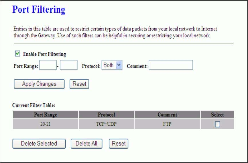 be helpful in securing or restricting your local network. Item Description Enable Port Filtering Click to