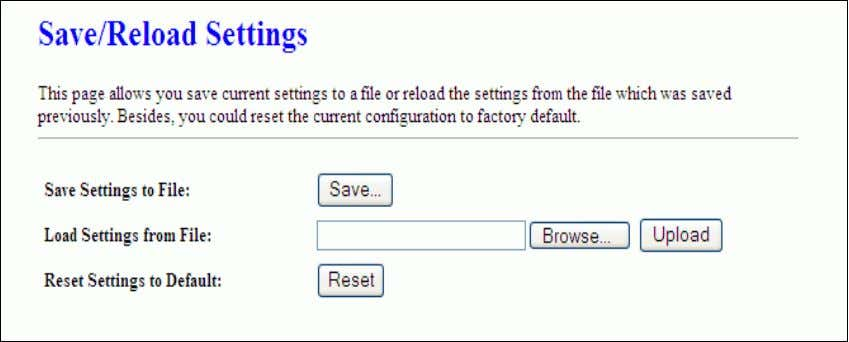 settings from the file that was saved previously. Besides, you could reset the current configuration to