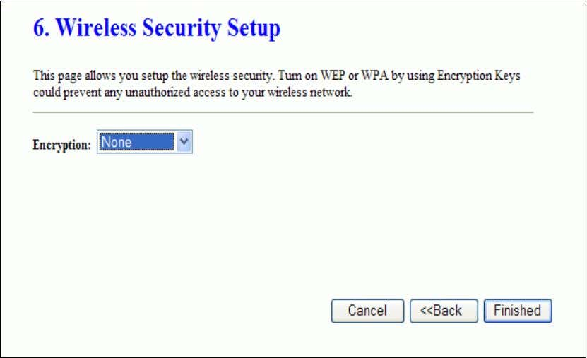 Setup This page is used to configure wireless security Operation Mode This page is used to