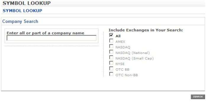 traded, privately held, or are owned by another company. The search results will appear below the