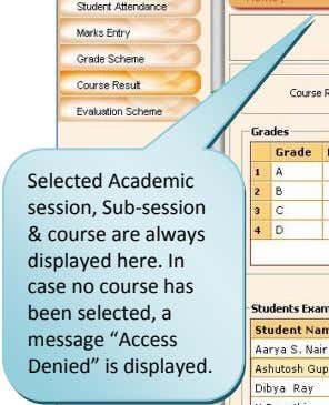 Selected Academic session, Sub ‐session & course are always displayed here. In case no course