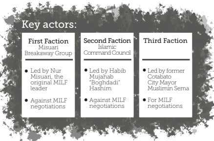 Key actors: First Faction Second Faction Third Faction Misuari Islamic Breakaway Group CommandCouncil • Led