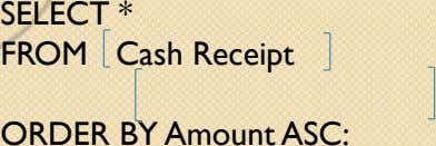 SELECT * FROM Cash Receipt WHERE Customer Number ORDER BY Amount ASC: