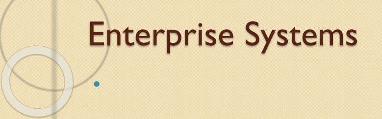 Enterprise Systems 