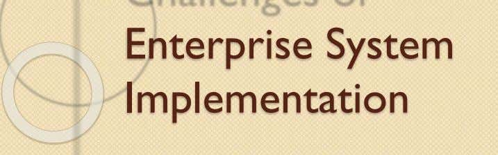 Enterprise System Implementation