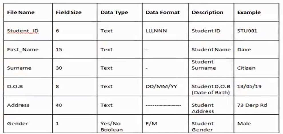 Data Dictionary Describes the data fields in each database record such as field description, field length,