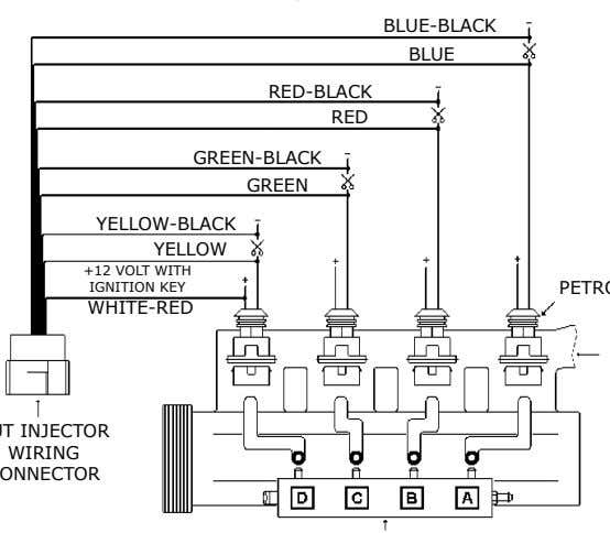 BLUE-BLACK BLUE RED-BLACK RED GREEN-BLACK GREEN YELLOW-BLACK YELLOW +12 VOLT WITH IGNITION KEY WHITE-RED WIRING