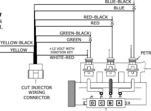 BLUE-BLACK BLUE RED-BLACK RED GREEN-BLACK GREEN YELLOW-BLACK YELLOW +12 VOLT WITH IGNITION KEY WHITE-RED CUT