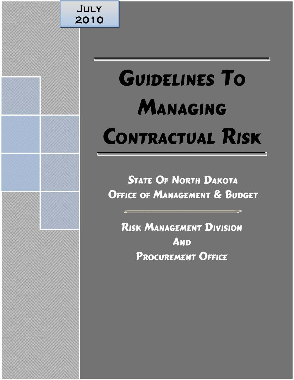 July 2010 Guidelines To Managing Contractual Risk State Of North Dakota Office of Management &