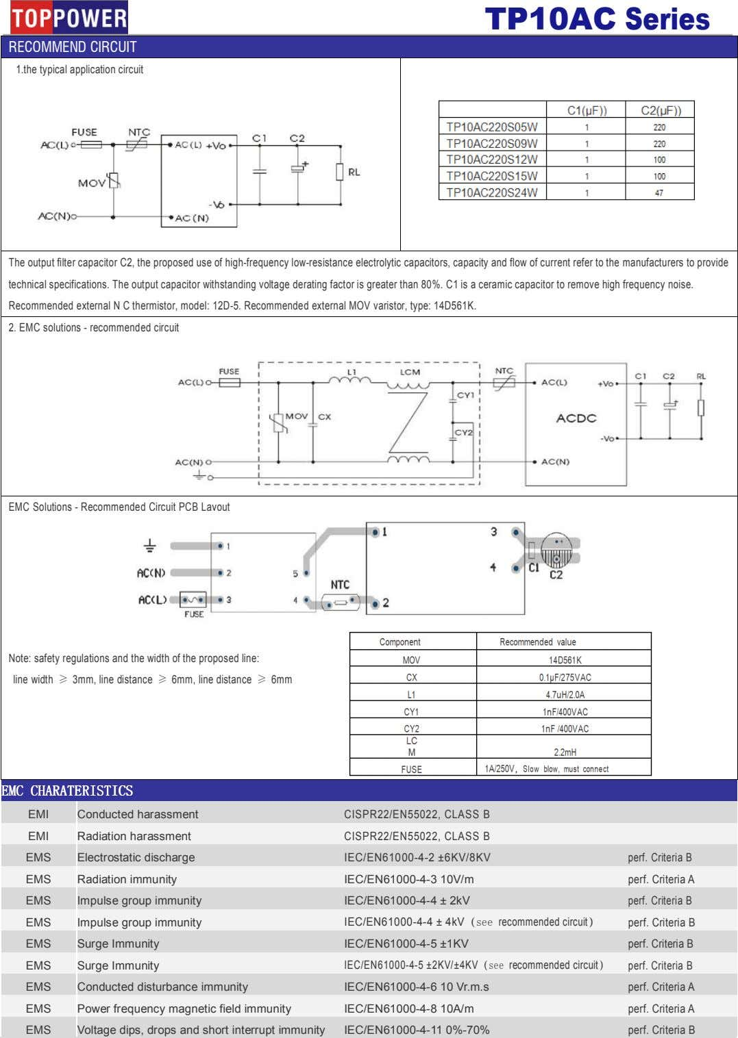 TP10AC Series RECOMMEND CIRCUIT 1.the typical application circuit The output filter capacitor C2, the proposed