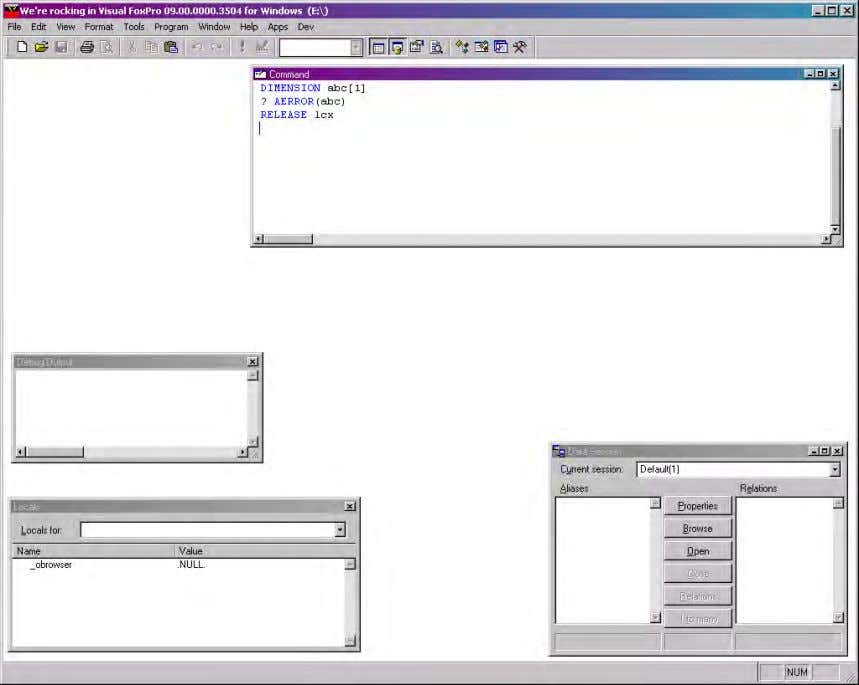 installs off of the CD. The VFP IDE is shown in Figure 1 . Figure 1