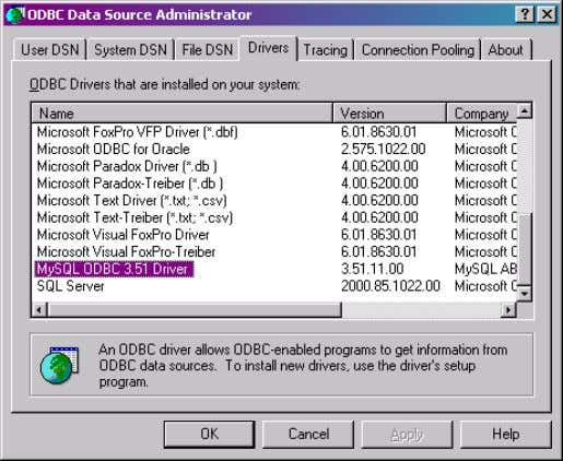 and configuration of the ODBC driver in Chapter 6. Figure 2 . The ODBC Drivers page