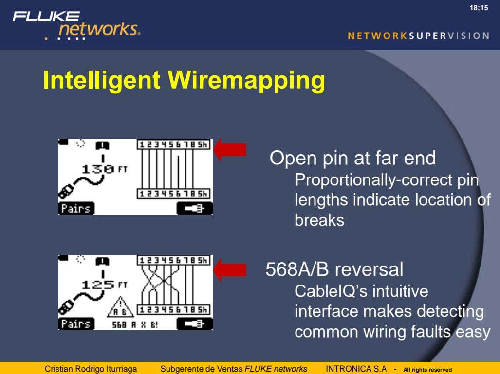 18:15 Intelligent Wiremapping Open pin at far end Proportionally-correct pin lengths indicate location of breaks