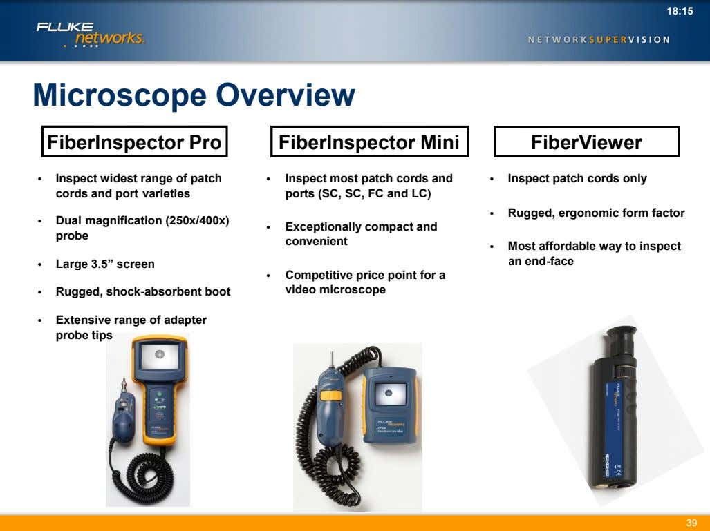 18:15 Microscope Overview FiberInspector Pro FiberInspector Mini FiberViewer • Inspect widest range of patch cords