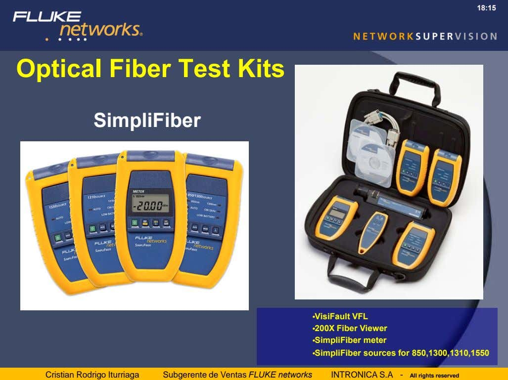 18:15 Optical Fiber Test Kits SimpliFiber •VisiFault VFL •200X Fiber Viewer •SimpliFiber meter •SimpliFiber
