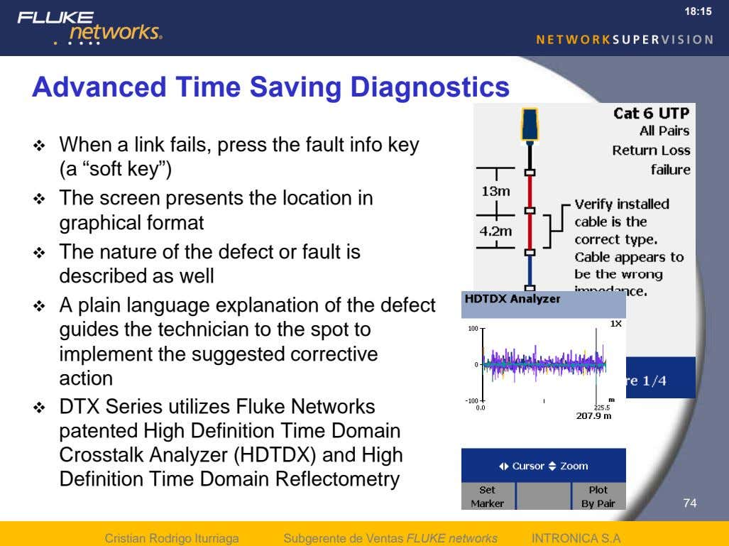 18:15 Advanced Time Saving Diagnostics  When a link fails, press the fault info key