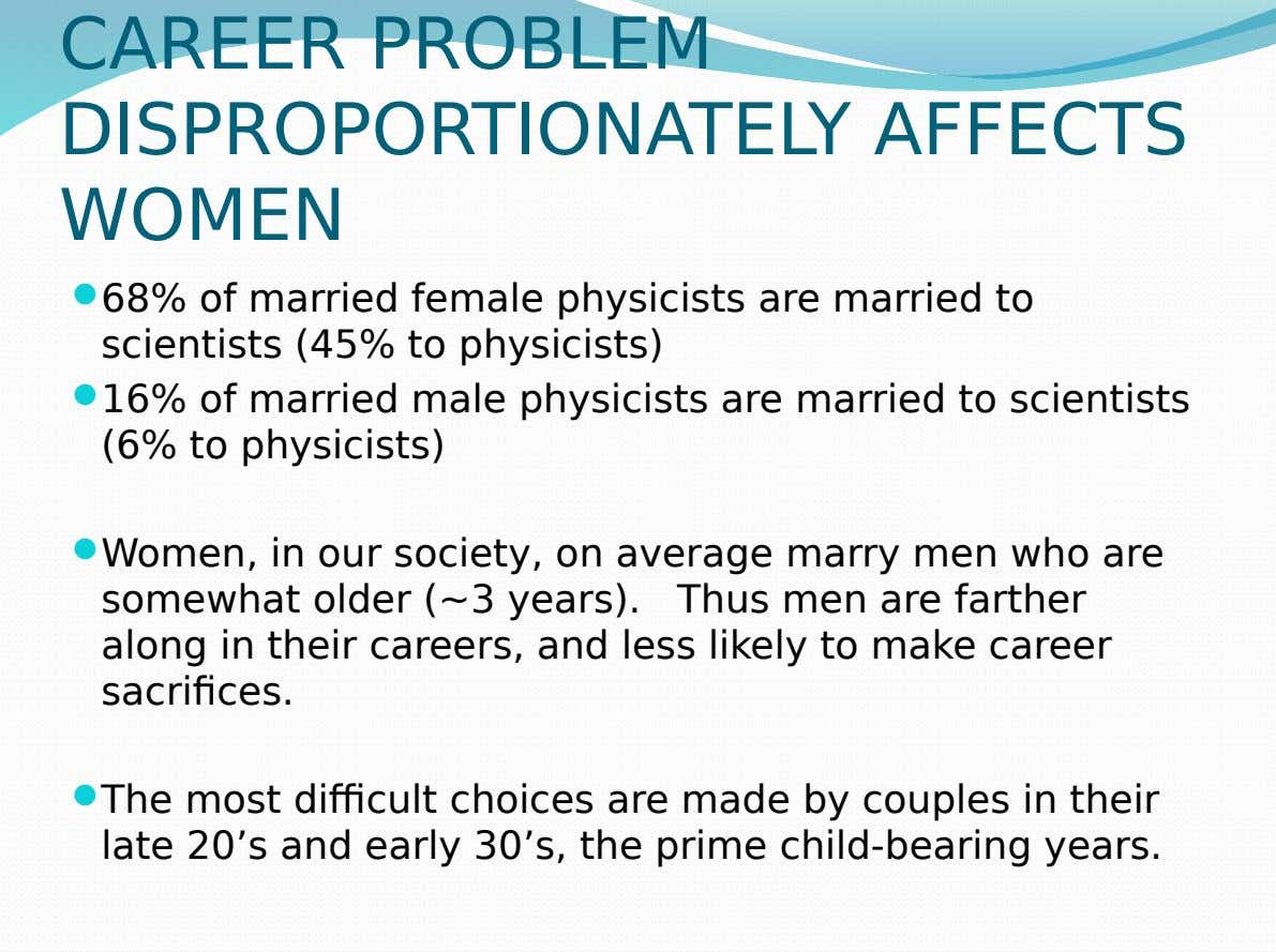 CAREER PROBLEM DISPROPORTIONATELY AFFECTS WOMEN  68% of married female physicists are married to scientists (45%