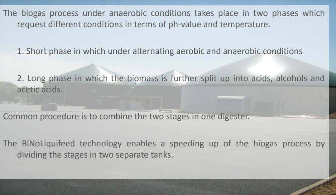 The biogas process under anaerobic conditions takes place in two phases which request different conditions