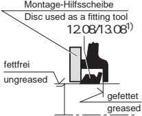 Montage-Hilfsscheibe Disc used as a fitting tool 12.08/13.08 1) fettfrei ungreased gefettet greased
