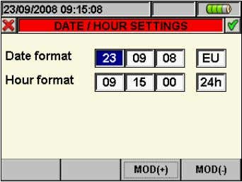 on screen of Fig. 9. The below screen is shown by meter: Fig. 10: Date/Time settings