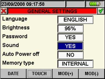 "relative to ""Sound"", marked with blue background, see Fig. 14: Keys sound settings screen 2. Use"