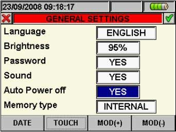 "to ""Auto power off"", marked with blue background, see Fig. 15: Auto power off setting screen"