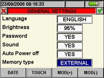 "relative to ""Memory type"", marked with blue background Fig. 16: Memory type setting screen 2. Use"