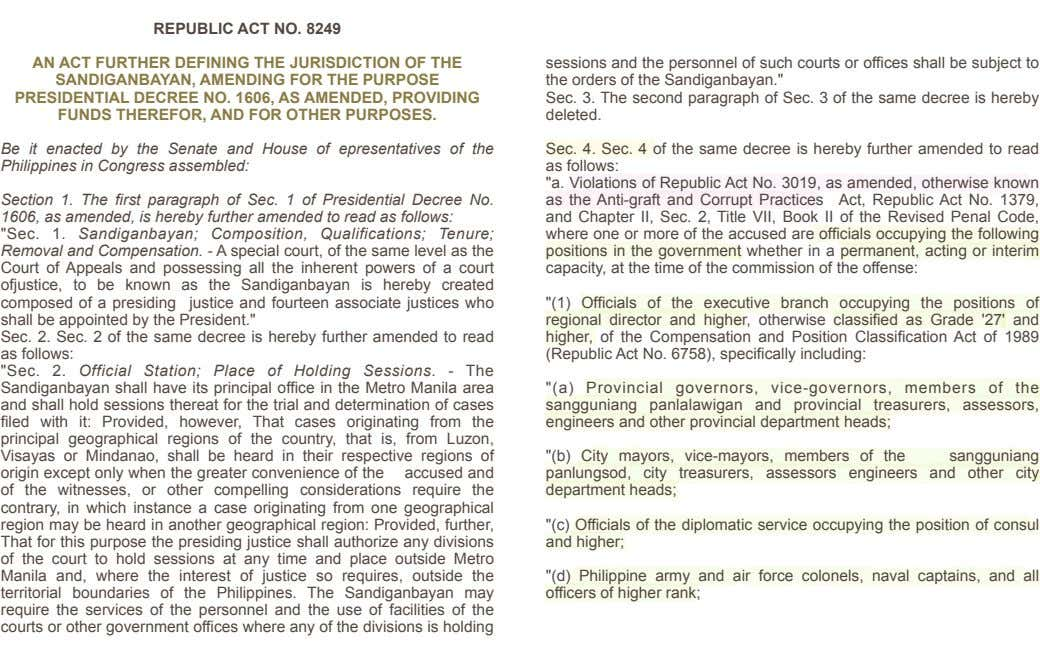 ! ! ! ! ! REPUBLIC ACT NO. 8249 ! AN ACT FURTHER DEFINING THE