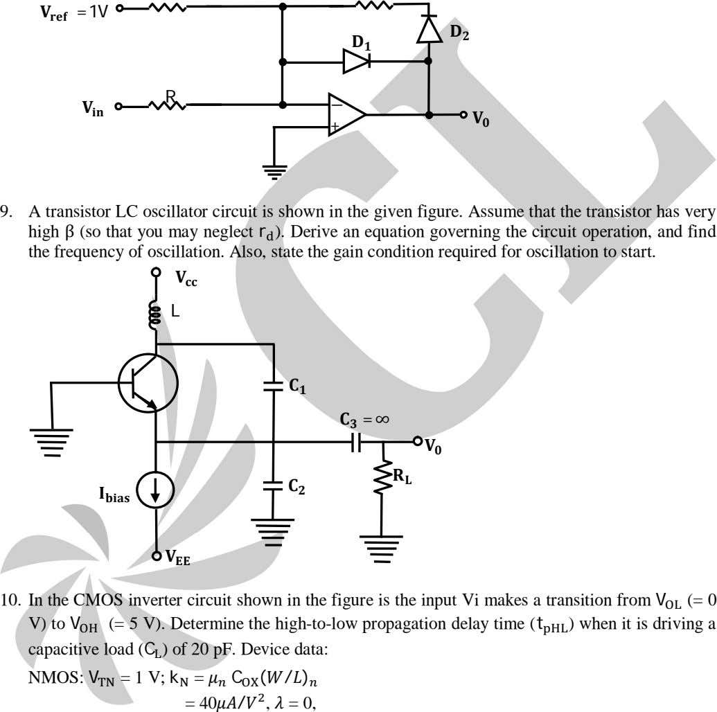 = 1V R 9. A transistor LC oscillator circuit is shown in the given figure.