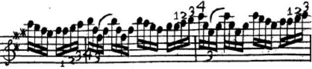 Figure 2.7 Excerpt of the first Fantasia f rom Corrette's violin method, page 38 (first line)