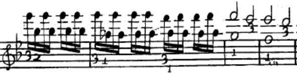 Figure 2.10 Excerpt of the second Fantasia from Corrette's violin method, page 38 (third line) The