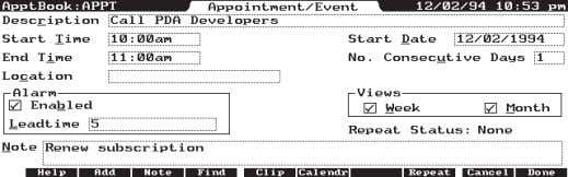 appointment list (see Figure 1 - The daily appointment list. Figure 2 - An Appointment Book