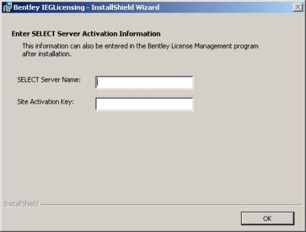 Installation Manual Enter the SELECT Server Name and Site Activation Key that have been given