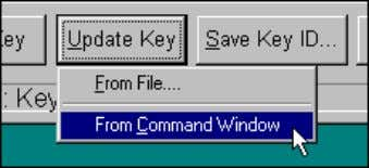 10) Execute the command Update Key/From Command Window . Alternatively, in the event you receive the